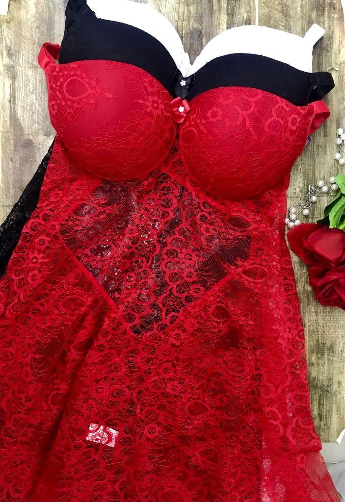 818d2a7e0 camisola plus size 48 50 52 renda luxo 2019 bojo vermelho. Carregando zoom.