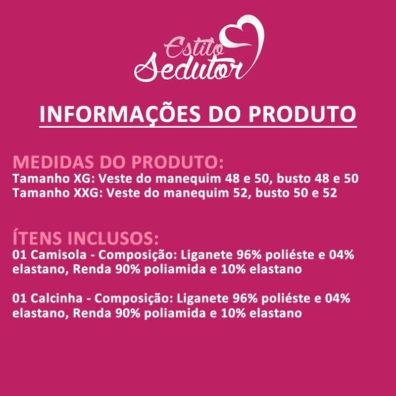 b002082e1 Camisola Plus Size Em Liganete E Renda Com Bojo + Calcinha - R  109 ...