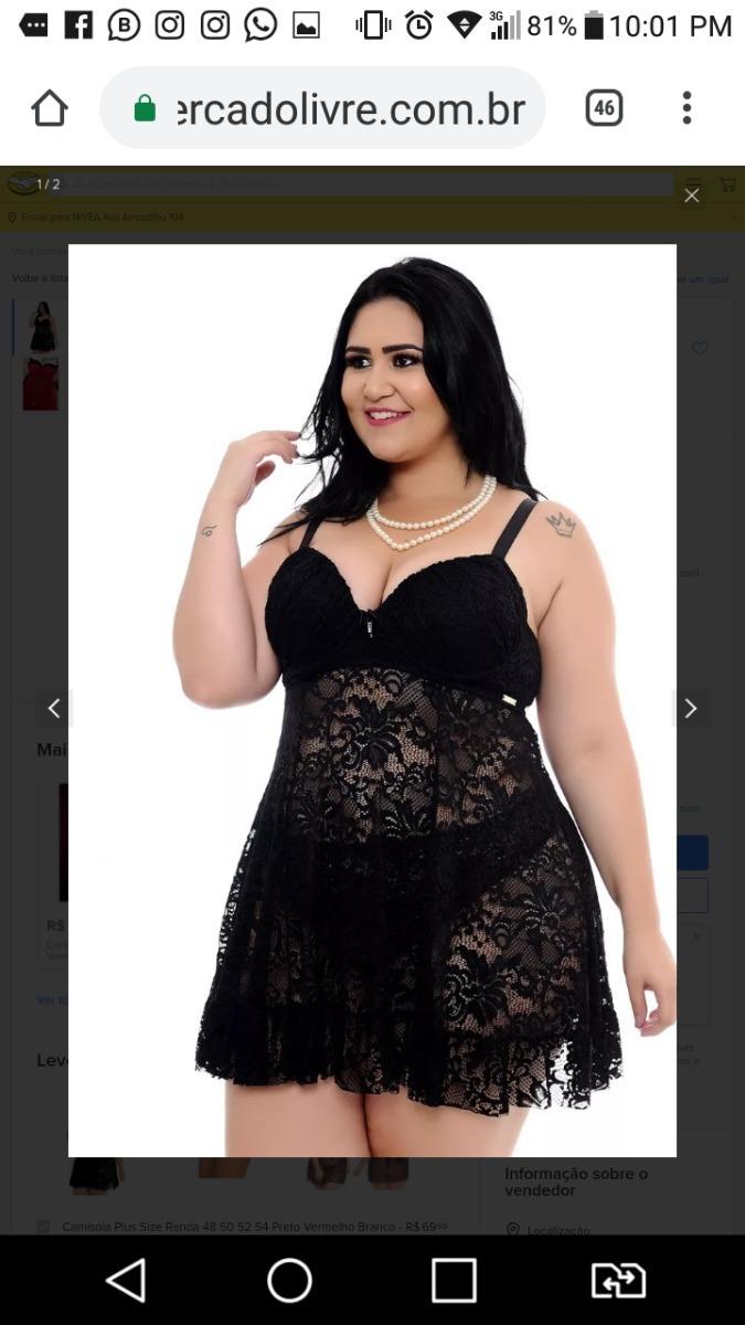2df5fa7267bbfb Camisola Plus Size Renda Tam 52 Preto