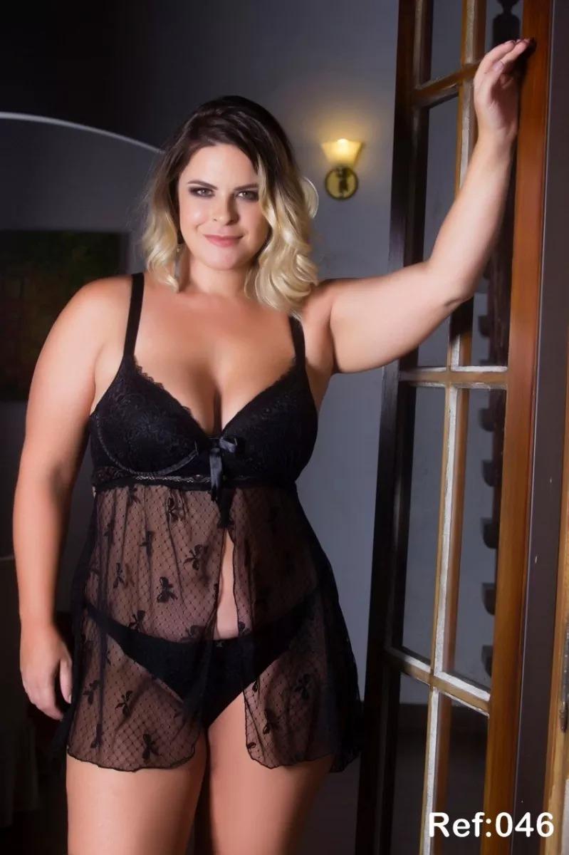 b1da36481 camisola preta luxo transparente plus size renda lingerie ps. Carregando  zoom.
