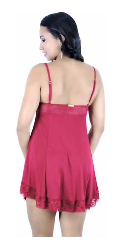 camisola sensual em liganet e renda p m g gg - frete grátis