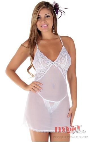 camisola sexy ana branca sem bojo sedução | camisola sensual