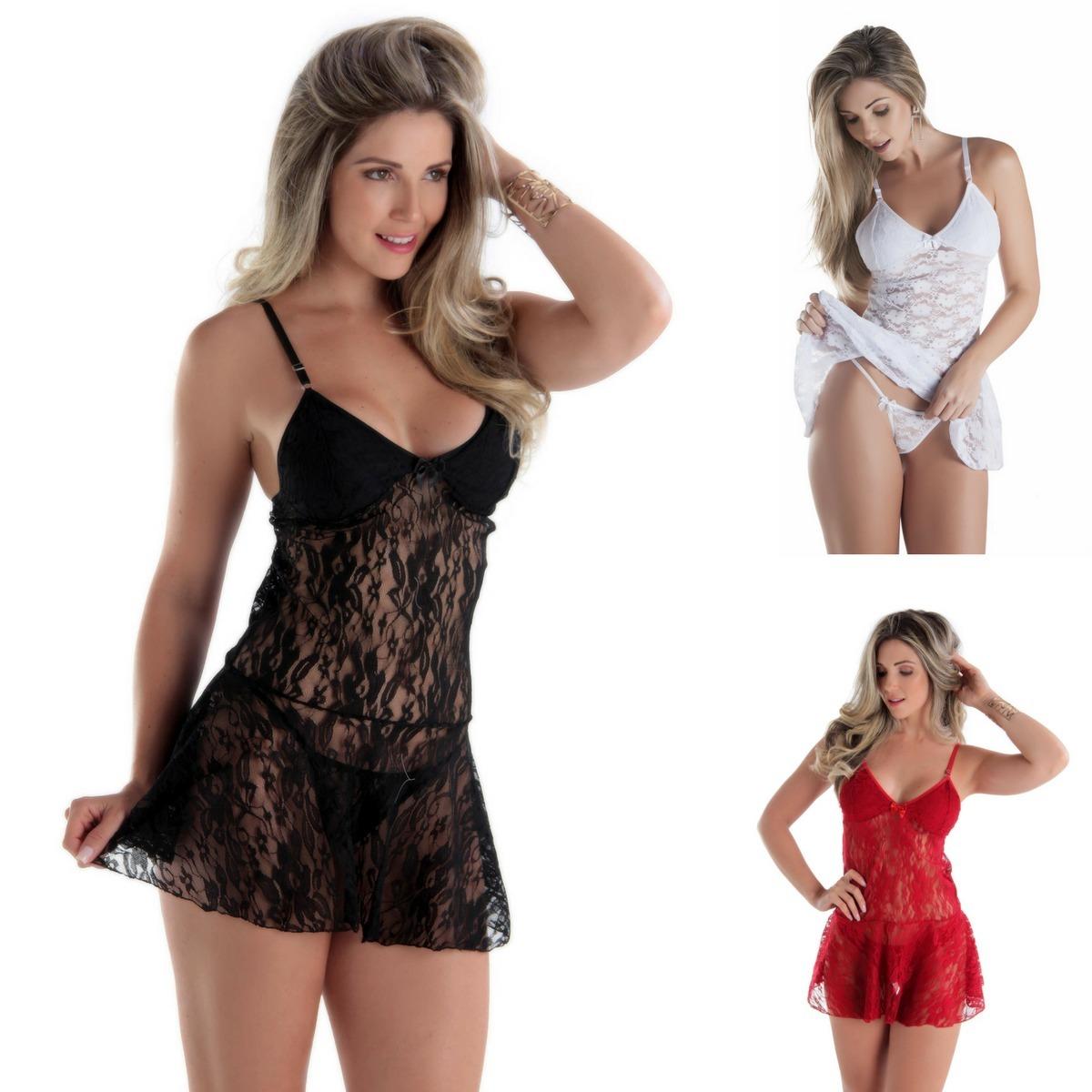ee38807ffa17fa Camisola Sexy Sexi Pijama Sensual Roupa De Dormir Feminina
