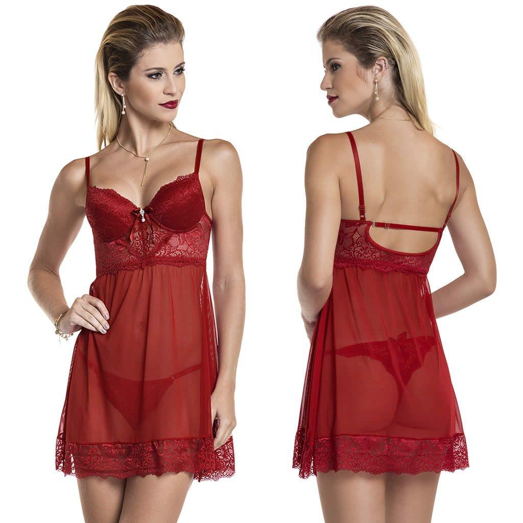 244a67dce camisola vermelha transparente com bojo em tule e renda. Carregando zoom.