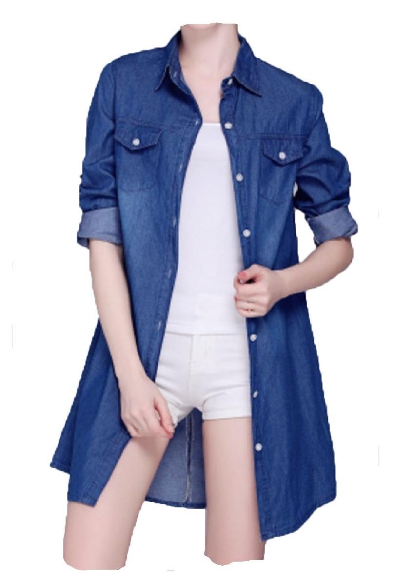 Camisolas Mujer Denim Jean Camisa Long Tiendasportcity -   1.049 662d80523d5