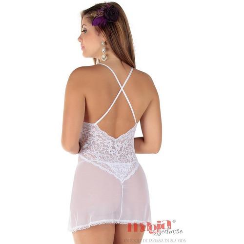 camisolas sensuais ana branca bojo renda | camisola sexy