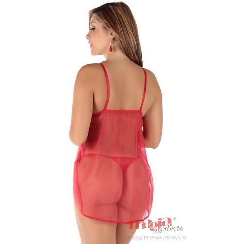 camisolas sensuais babi vermelha bojo + calcinha   sexy