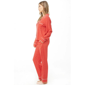 dfa1437d2e Forever 21 Pijama Pantalon Camisa Rojo Puntitos Blancos S Ch