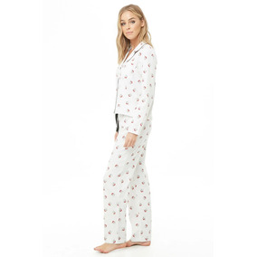 28b59718cf Forever 21 Pijama Pantalon Camisa Blanco Santa Algodon Med