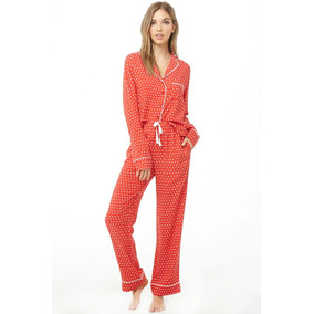 e3ab054d89 Forever 21 Pijama Pantalon Blusa Rojo Puntitos Blancos Med