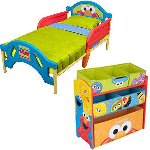 camita cama y juguetero infantil nio elmo plaza sesamo