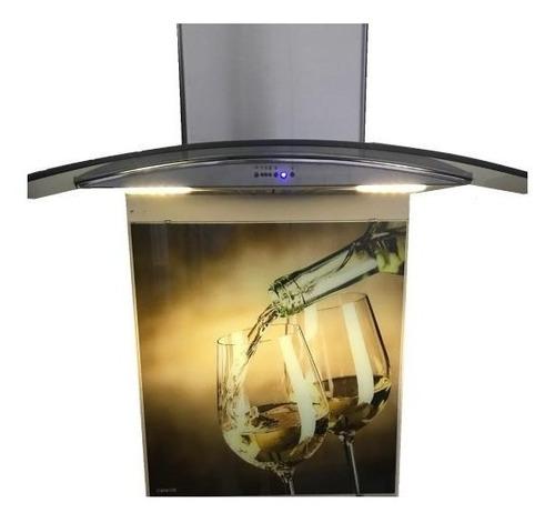 campana cocina 60cm acero inoxidable + vidrio decorativo