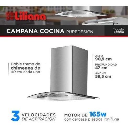 campana cocina extractor liliana acero inoxidable kc994