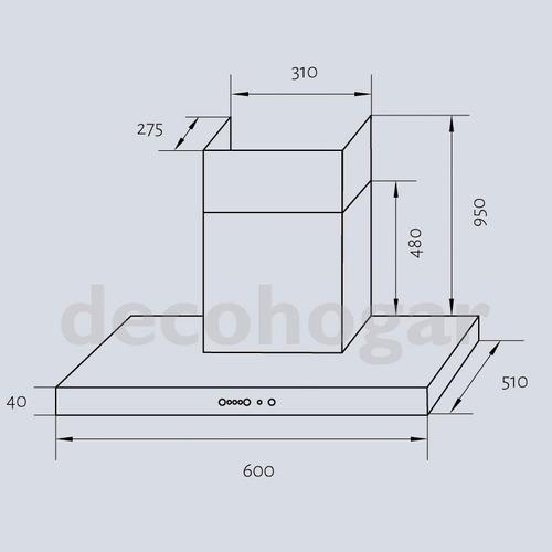 campana cocina extractora acero inox tst nihuil 60cm c/motor