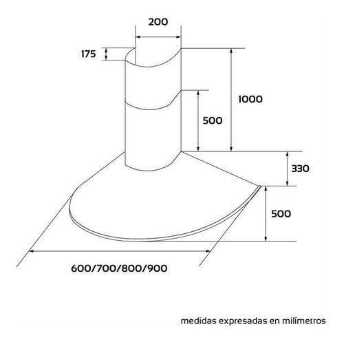 campana cocina maraldi apsis 60 cm acero inoxidable  vacia + cubre caño extensible