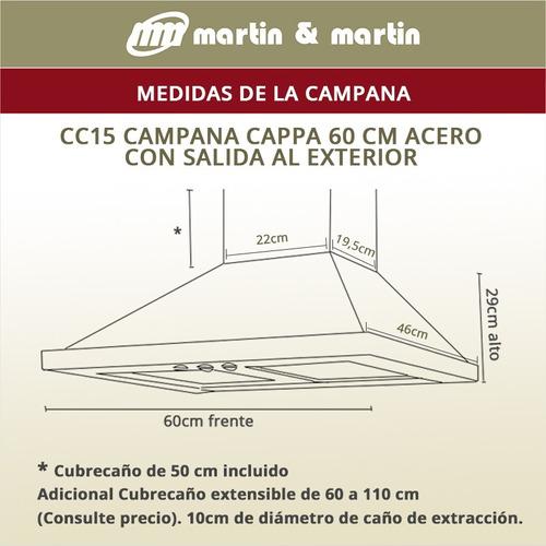 campana cocina rectangular 60 cm acero martin & martin