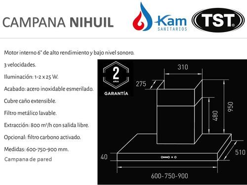 campana cocina tst nihuil 60cm pared acero inox extractor