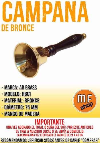 campana de bronce 75 mm mango madera nueva en mf shop