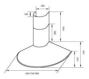 campana de cocina circular 60cm acero inoxidable stock
