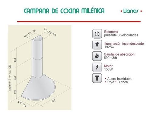 campana de cocina llanos milénica 60cm de pared (a02)