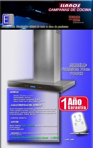 campana de cocina llanos premium touch 75cm pared. 12 cuotas