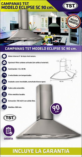 campana de cocina tst eclipse sc extractor 90cm envio gratis