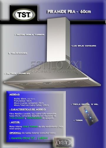 campana de cocina tst piramide pba 60cm pared 3v - envio s/c