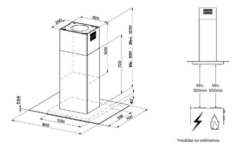 campana de empotre iomabe 90cms inox. io9018ci4i
