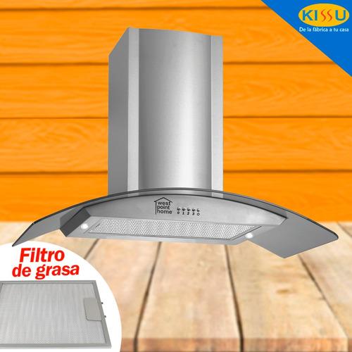 campana extractora tipo isla west point h vidrio curvo 90 cm