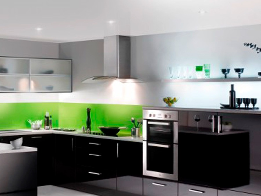 Campana para cocina de cristal templado 5 en - Cocina con pared de cristal ...