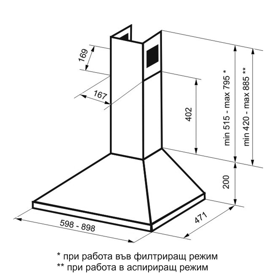Campana piramidal tulum 60 acero inox 3 en mercado libre - Campana extractora medidas ...