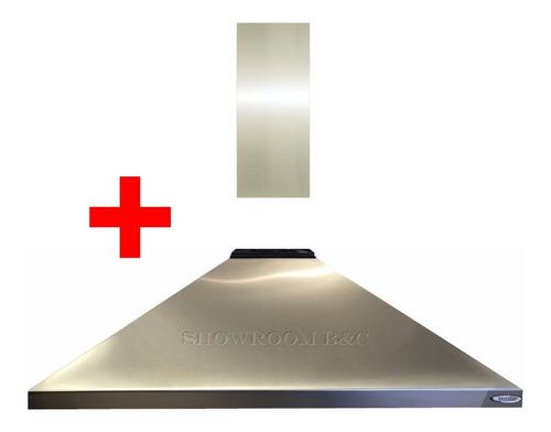 campana piramide cocina industrial acero vacia 90 con cubre