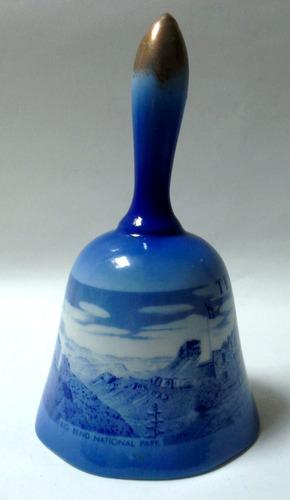 campana porcelana azul souvenir texas