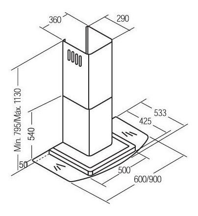 campana serie pv cristal 90cm.
