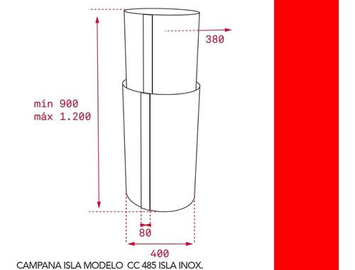 campana teka cc 485 isla inox 40cm 1200m3/h