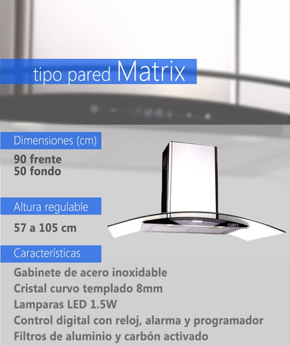 campana tipo pared 18 matrix cristal curvo digital