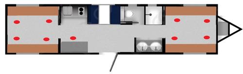 camper , caseta , remolque , oficina movil para 9 pers