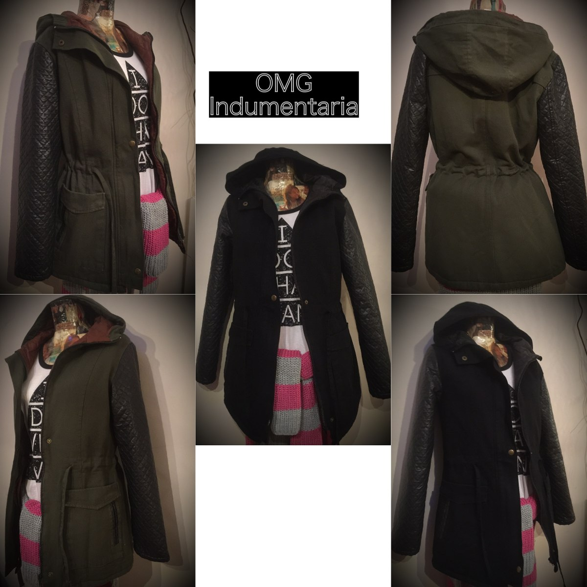 en venta en línea outlet(mk) zapatos elegantes Campera Abrigo Parka Mujer Eco Cuero Y Gabardina Con Capucha