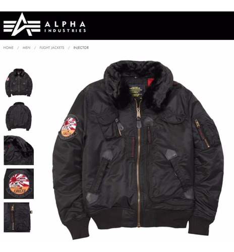 campera alpha industries injector aviadora original