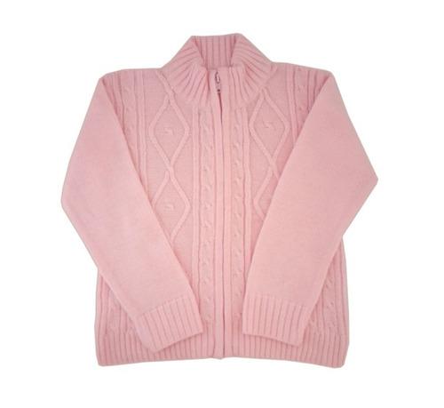 campera con trenzas para niñas color rosa-marca pompas