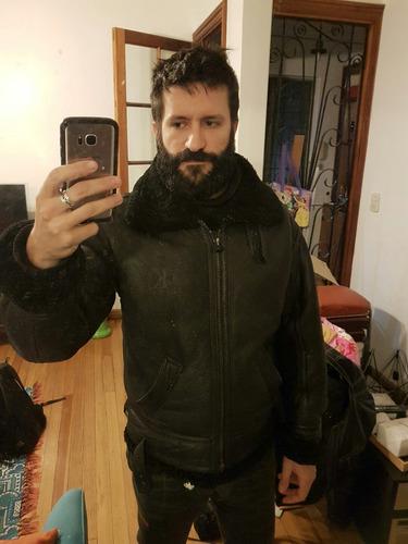 campera cuero negra calvin klein con cordero muy abrigada