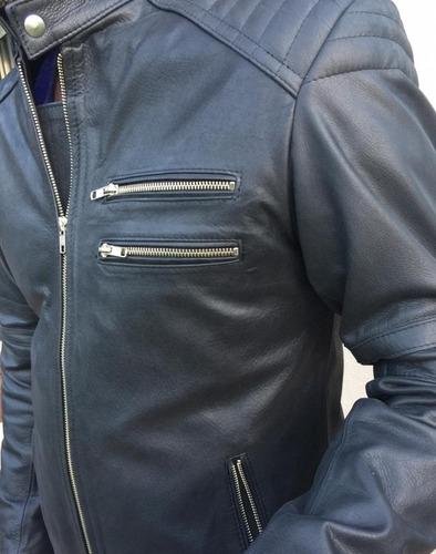 campera de cuero  moto race - hombre cuero auténtico
