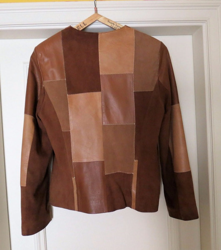 campera de cuero patchwork marca wendall talle l impecable