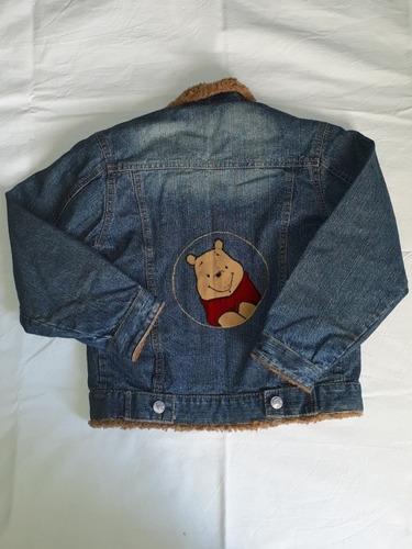 campera de jean con corderito winnie pooh