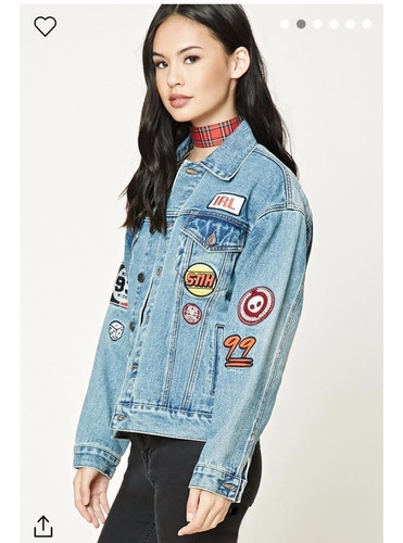 campera de jean con parches graficos forever21 temp 2018