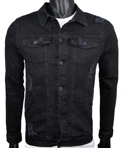 campera de jean elastizada negra - talles s-m-l-xl
