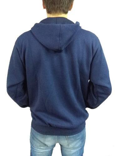 campera friza capucha colegial azul  adulto l y j uniformes
