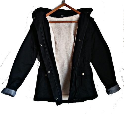 campera gabardina p/ dama con corderito abrigo parka gorrito