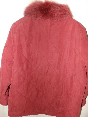 campera gamuzada cuello piel ecologica