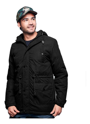 campera hombre parka invierno negra capucha gabardina diseño